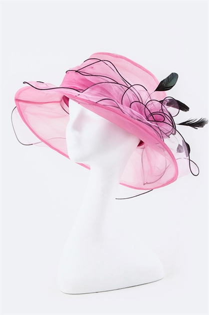 Floral Feather Organza Hat - orangeshine.com
