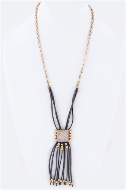 Square Stone  Fringe Necklace - orangeshine.com