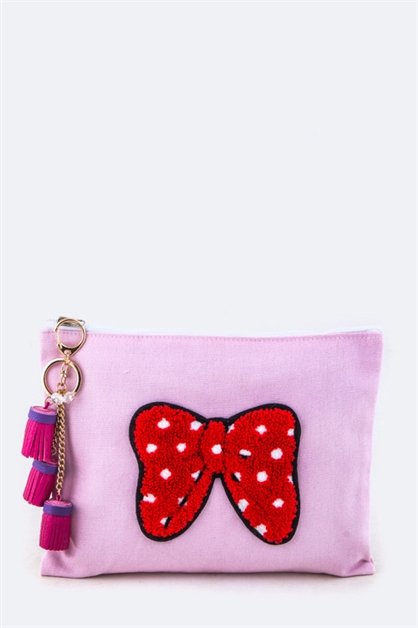 Plush Bow Tasseled Pouch - orangeshine.com