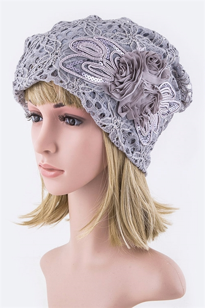 Flower Laced Beanie Hat - orangeshine.com
