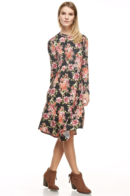 floral midi round hem dress - orangeshine.com