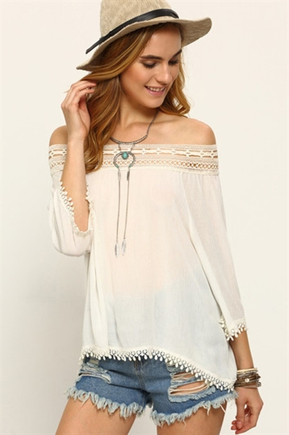 Lace Trimmed Blouse - orangeshine.com