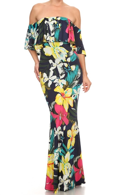 Print short sleeve maxi dress - orangeshine.com