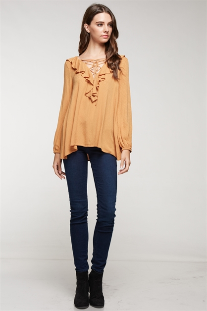 Ruffle lace up front blouse - orangeshine.com