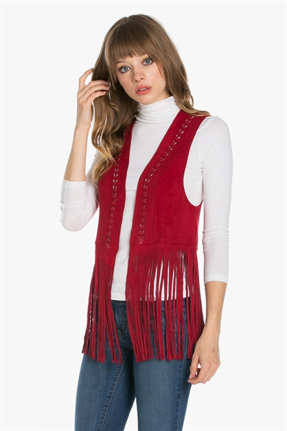 SUEDE VEST WITH FRINGE - orangeshine.com