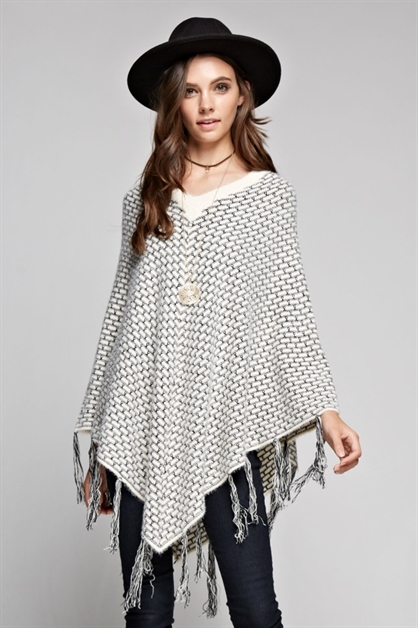 Knit V-Neck Poncho - orangeshine.com
