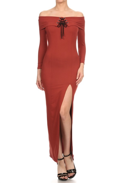 SOLID SLIT MAXI DRESS - orangeshine.com