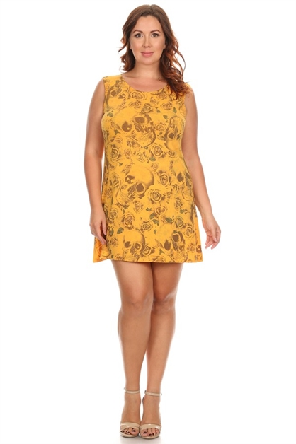 Skull Print Sleeveless Dress - orangeshine.com