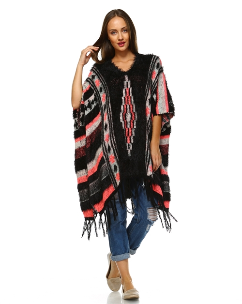 -Bohemian Furry Poncho Sweater - orangeshine.com