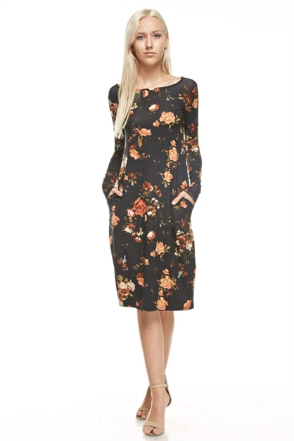 round neck flower midi dress - orangeshine.com