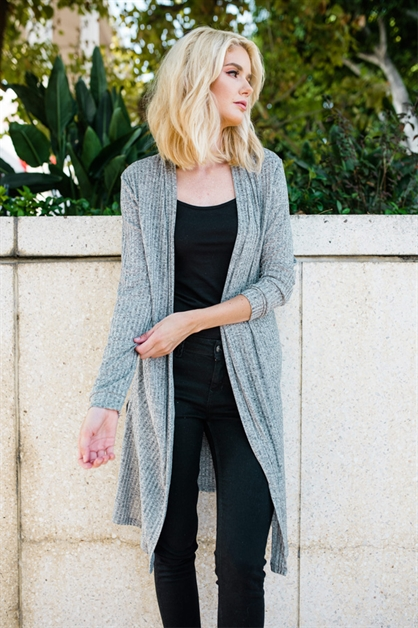 Solid Open Knit Cardigan - orangeshine.com