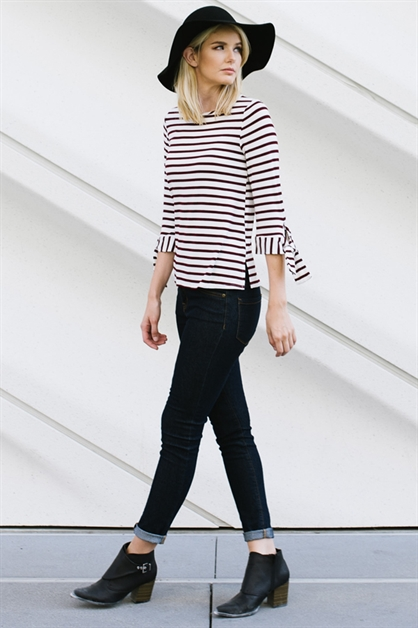 Striped Top with knot detail - orangeshine.com