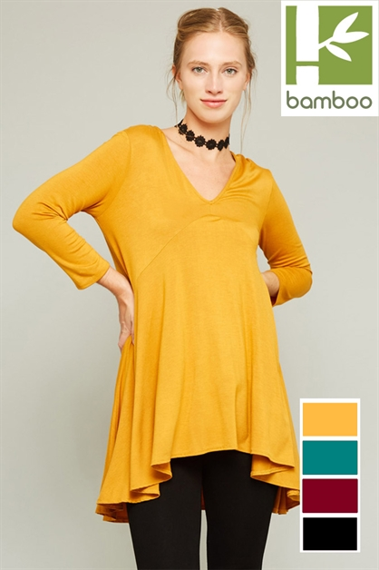 DEEP V NECK TUNIC TOP - orangeshine.com