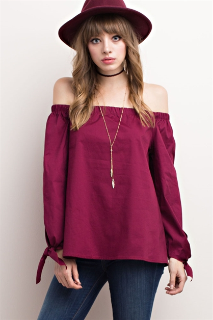 OFF SHOULDER BOW SLEEVES TOP - orangeshine.com