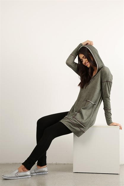 knit long line hooded toP - orangeshine.com