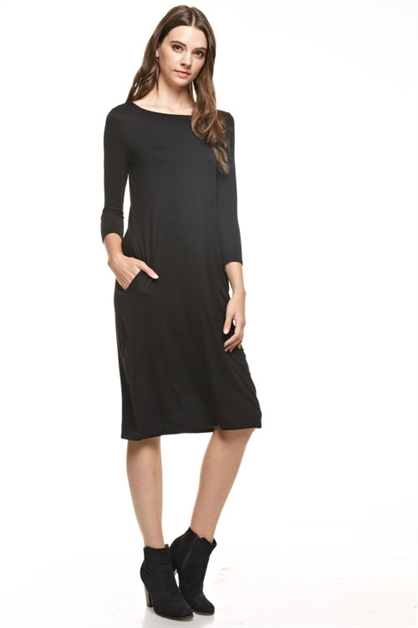 3/4 sleeve solid midi dress - orangeshine.com