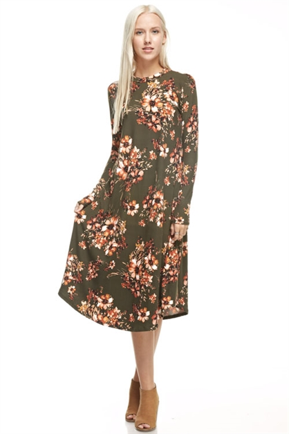 mock neck flared floral dress - orangeshine.com