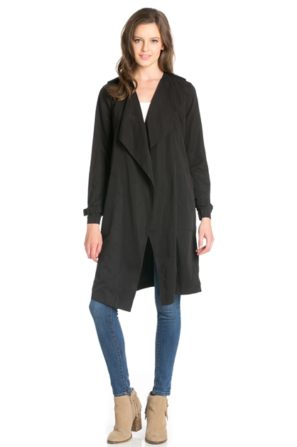 LONG SLEEVE DRAPED LONG COAT - orangeshine.com