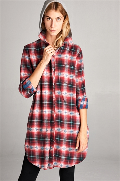 PLAID LONG SHIRT - orangeshine.com