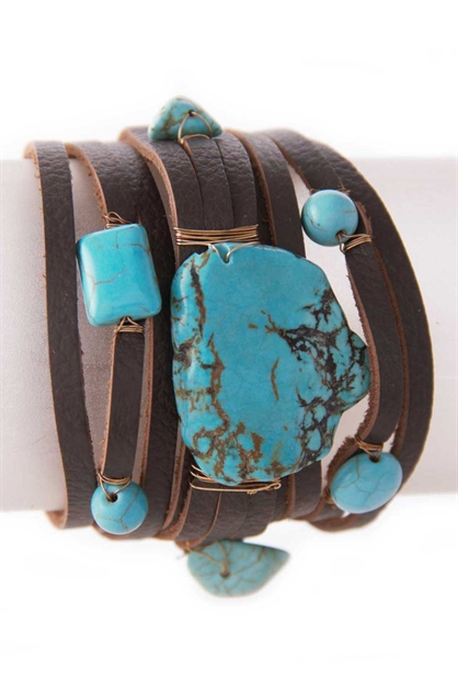 STONE DESIGN LEATHER BRACELET - orangeshine.com