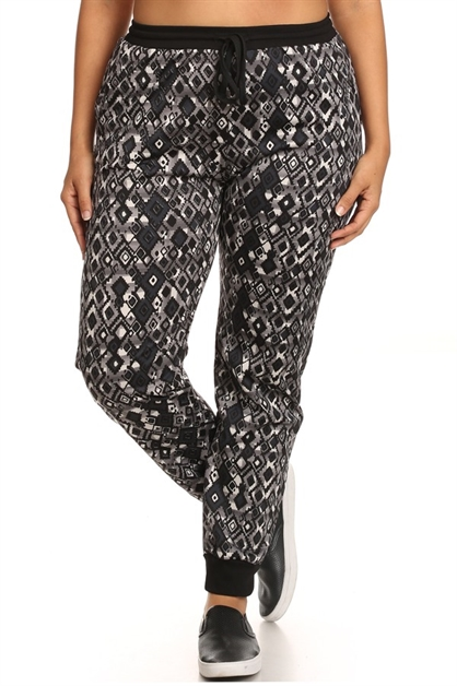 Plus Size Fleece Pants Geo  - orangeshine.com