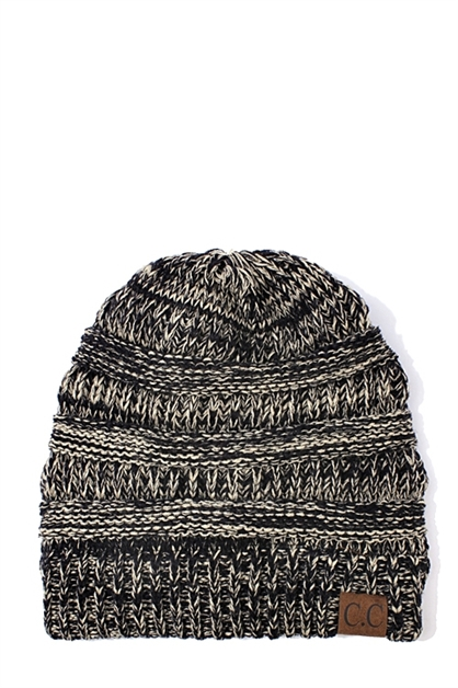 CC TWO- TONE KNIT BEANIE - orangeshine.com