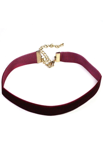 Thin Velvet Choker Necklace - orangeshine.com