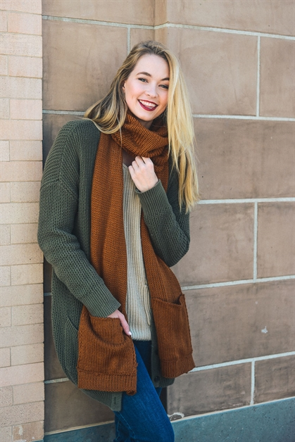 2-part Knit Pocket Scarf - orangeshine.com