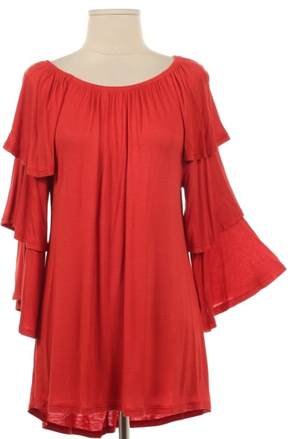 PLUS 3/4 SLEEVE DOUBLE RUFFLE - orangeshine.com