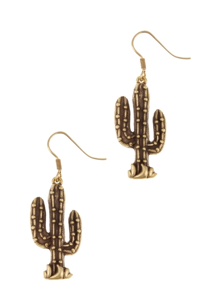 Metal cactus drop earrings - orangeshine.com