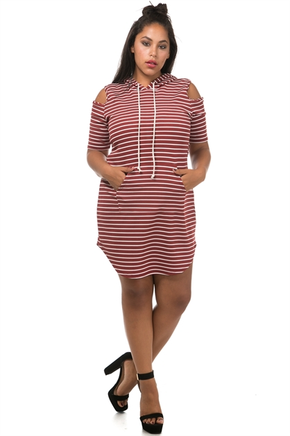 Striped hoodie casual dress - orangeshine.com