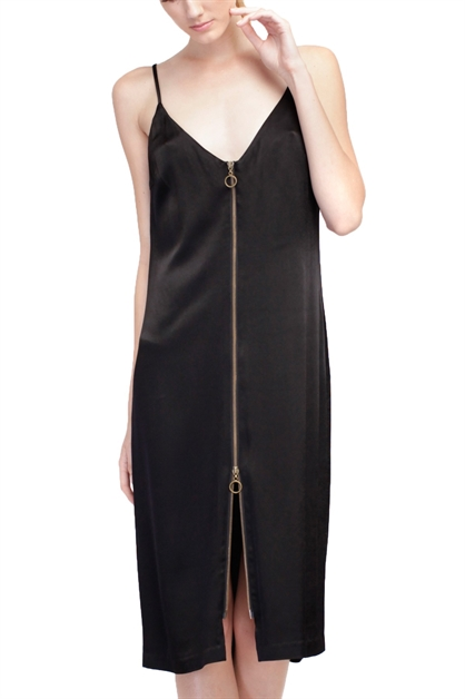DEMI ZIPPER SLIP DRESS - orangeshine.com