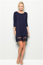 D5022LACE HEM SCOOP NECK DRESS - orangeshine.com