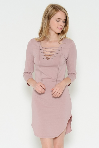 3/4 Sleeve Front Eyelet Dress - orangeshine.com