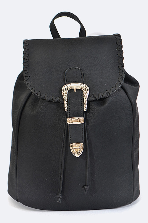 Lace  Buckle Accent Backpack - orangeshine.com