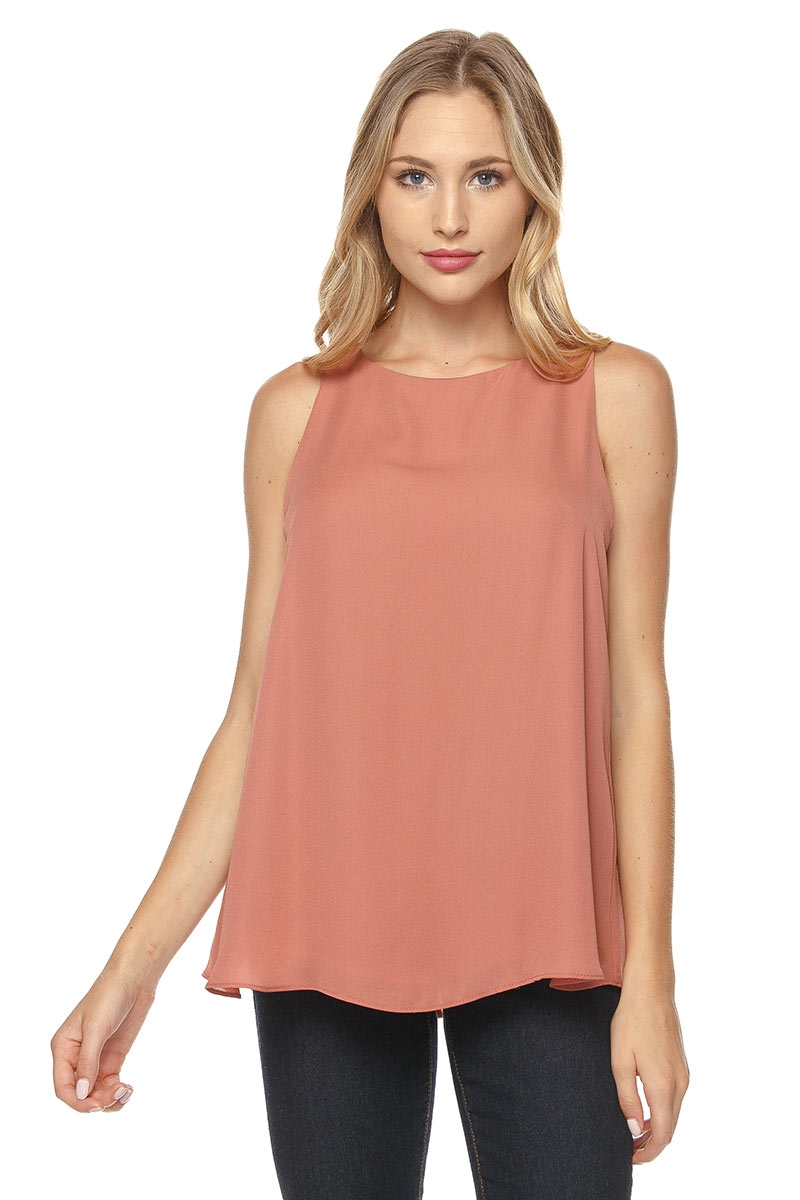 SLEEVELESS WOVEN TOP - orangeshine.com