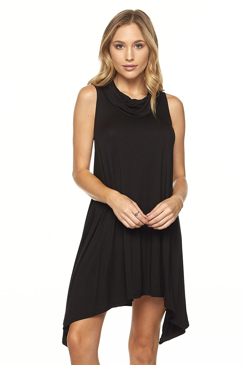 MOCK NECK SLVLESS FLARE DRESS - orangeshine.com