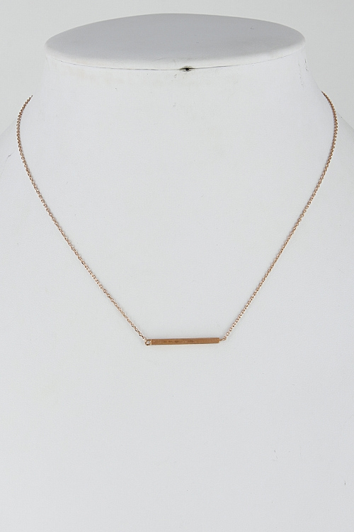 Thin Solid Plain Bar Necklace - orangeshine.com