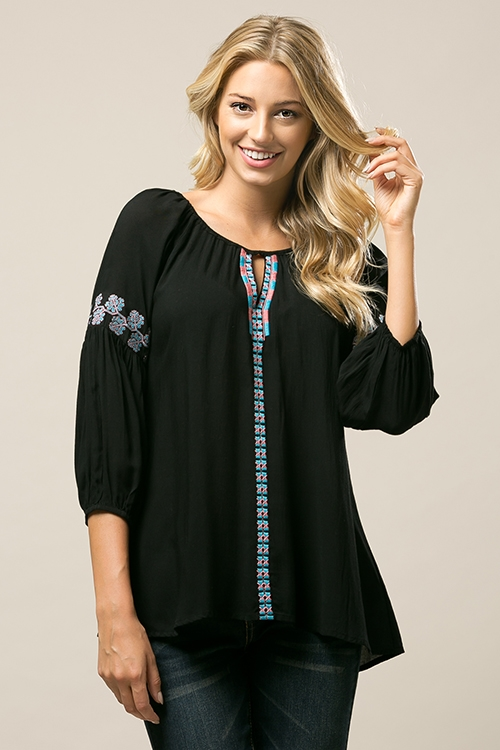 EMBROIDERED TUNIC TOP - orangeshine.com