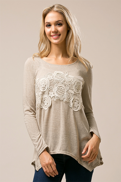 Lace Inset Knit Tunic - orangeshine.com