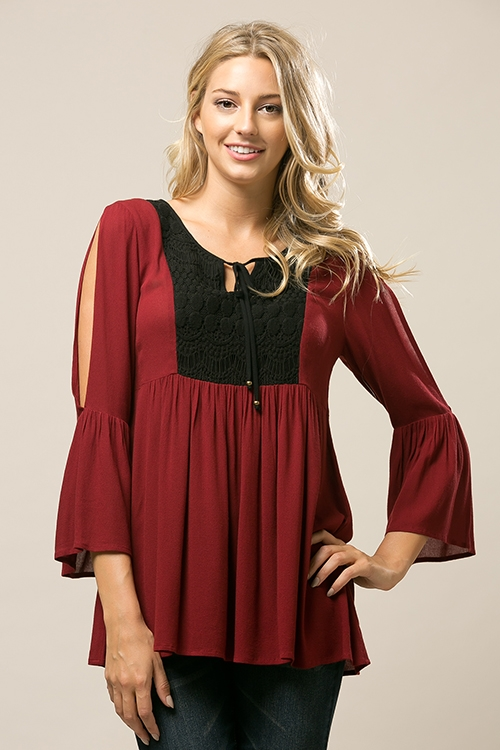 Cold Shoulder Lace Tunic - orangeshine.com