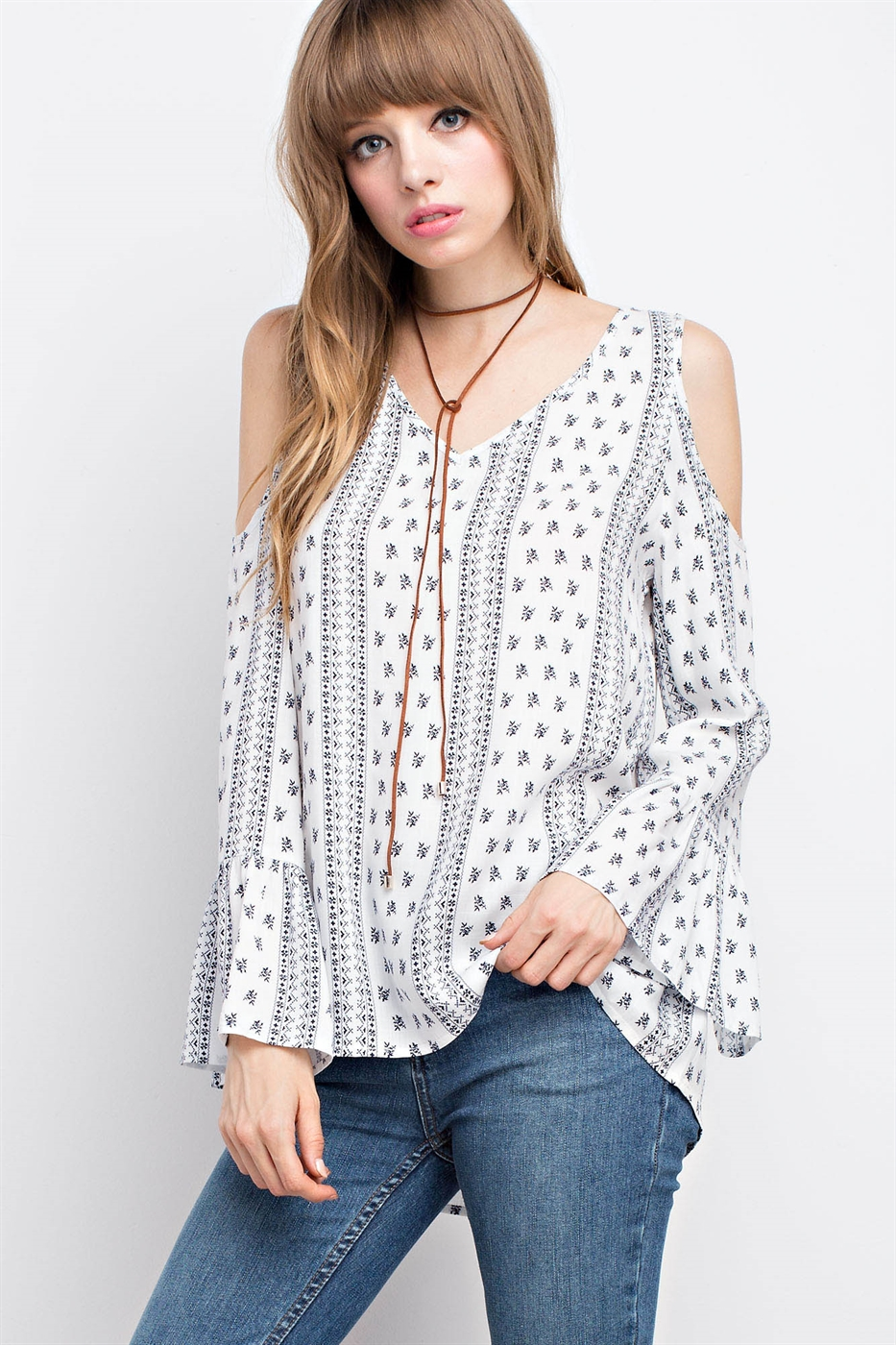 BORDER PRINT BELL SLEEVED TOP - orangeshine.com