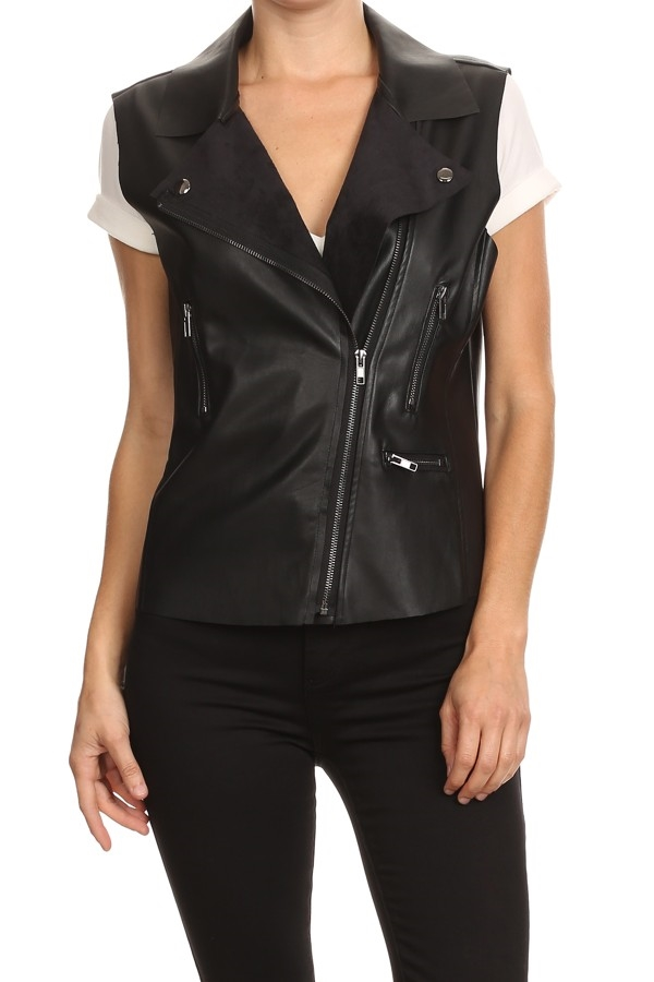 FRONT ZIP LEATHER VEST - orangeshine.com