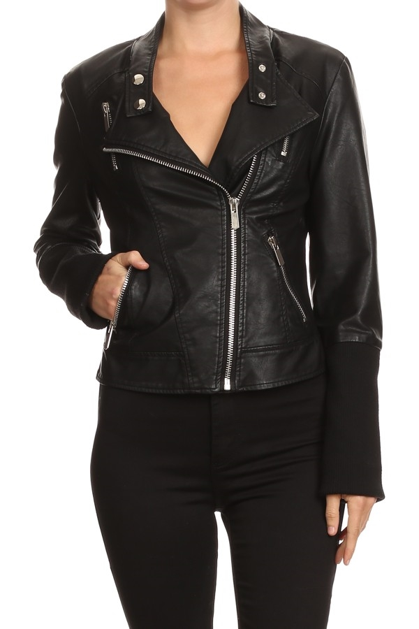 LEATHER ZIPPER MOTO JACKET  - orangeshine.com