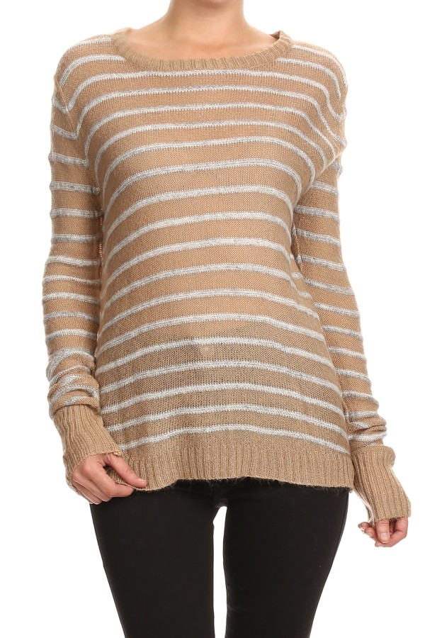 STRIPED SWEATER WITH OPEN BACK - orangeshine.com
