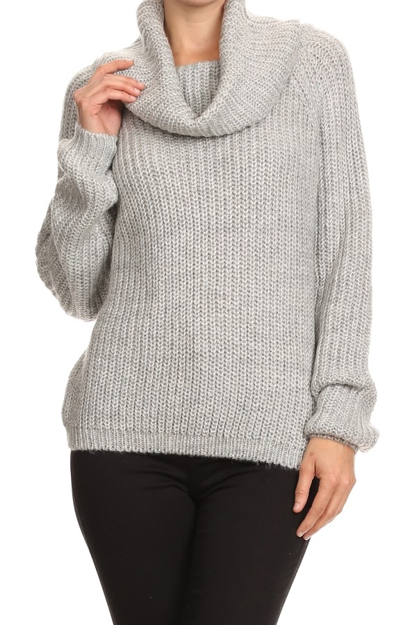 COWL TURTLENECK GREY SWEATER - orangeshine.com