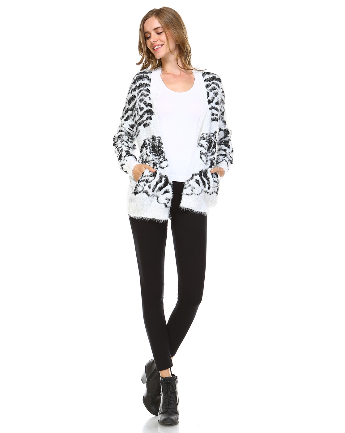 TIGER PRINT SWEATER CARDIGAN - orangeshine.com