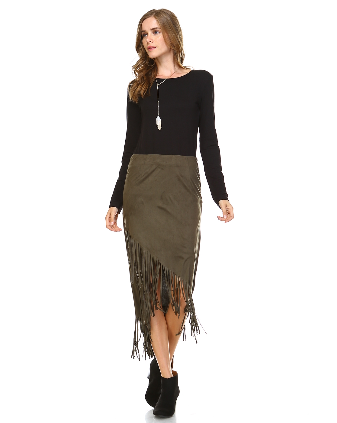SUEDEFRINGE SKIRT W/SIDEZIPPER - orangeshine.com