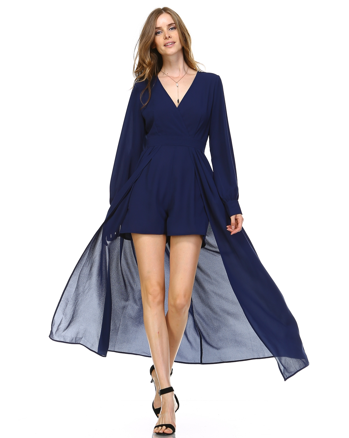 DRESSY ROMPER WITH CAPE - orangeshine.com