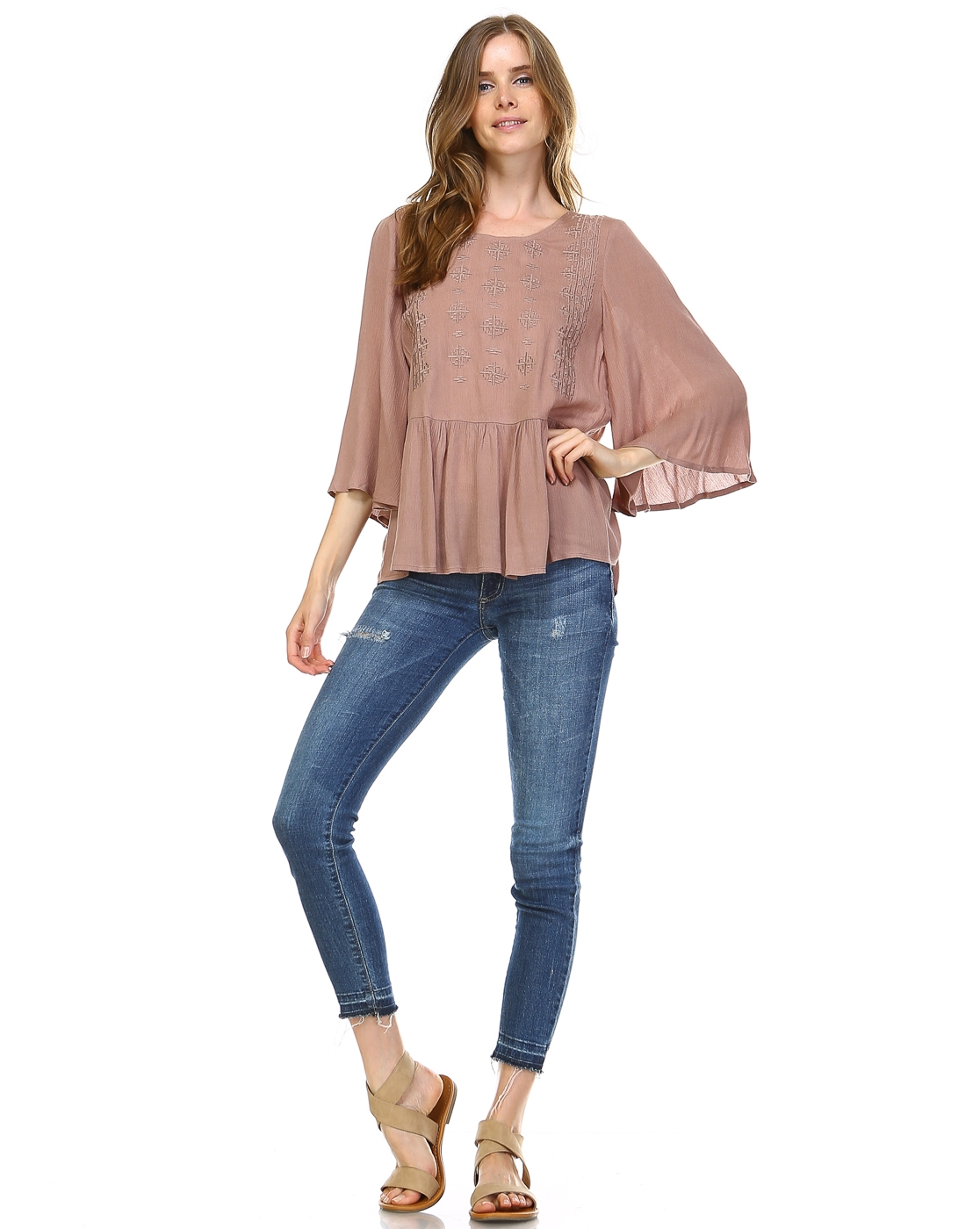 EMBROIDERED SOLID BLOUSE - orangeshine.com